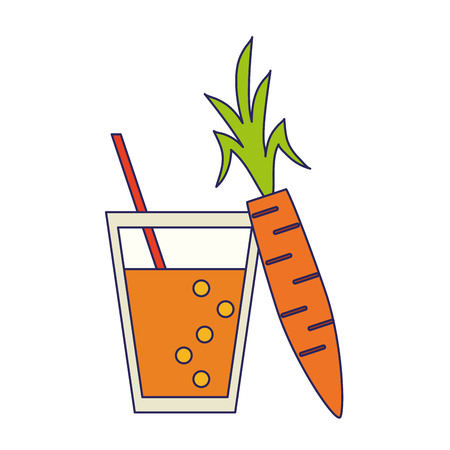 Detox fitness smoothie and carrot vector illustration graphic design