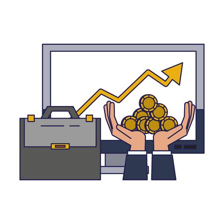 Portefeuille d'affaires du marché de l'investissement graphique de données tendance porte-documents mains et pièces desing graphique d'illustration vectorielle Vecteurs