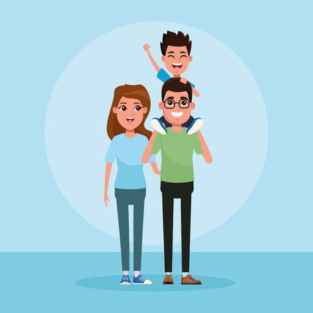 Family with kids parents with only son cartoon vector illustration graphic design Imagens - 123193465
