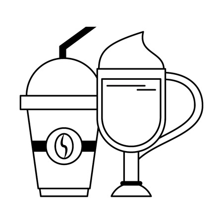 Coffee cold sweet drink with whipped cream plastic cup and straw coffeeshop vector illustration graphic desing 矢量图像