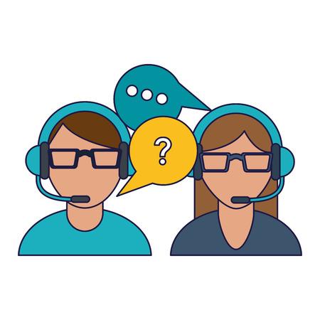 Call center agent with customer service symbols vector illustration graphic design
