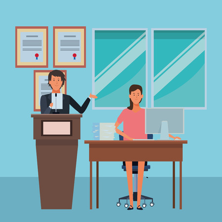 couple in a podium and office desk in the auditory vector illustration graphic design