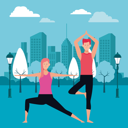 couple yoga poses avatars cartoon character in the park cityscape skyscraper at night vector illustration graphic design Vectores