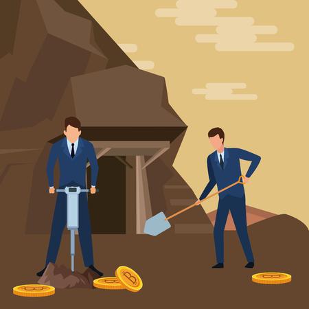 biznesmeni kopiący szukający kryptowaluty bitcoin z wiertłem i łopatą w kopalni ilustracja wektorowa grafika