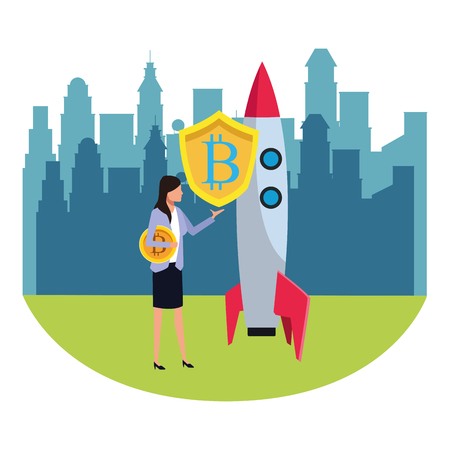 businesswoman with cryptocurrency skyrocket icon cartoon cityscape skyscraper vector illustration graphic design