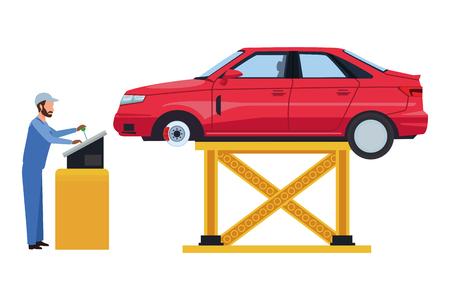 car service manufacturing worker assembling cartoon vector illustration graphic design Vector Illustration
