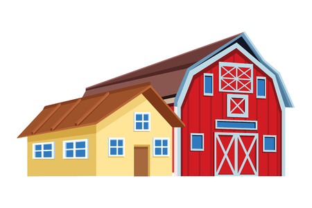 farm and barn icon cartoon vector illustration graphic design