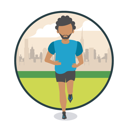Fitness man running in the park scenery round icon vector illustration graphic design Illustration
