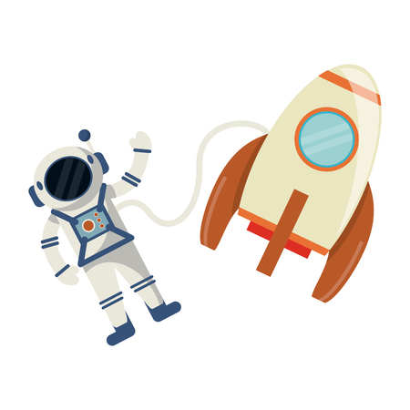 Astronaut and spaceship cartoon vector illustration graphic design