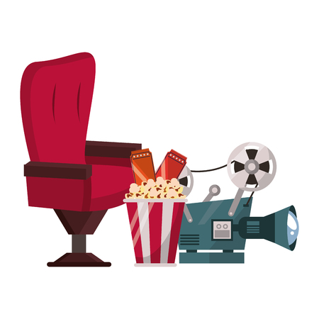 Cinema equipment and movies cartoons vector illustration graphic design