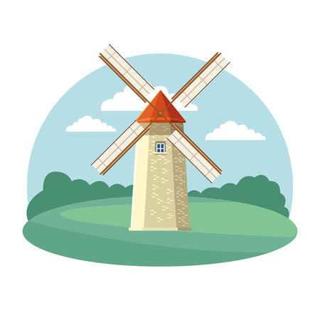 windmill icon cartoon isolated rural landscape vector illustration graphic design