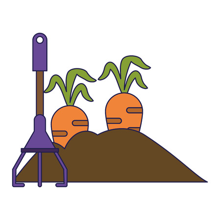 Garden with carrots and rake vector illustration graphic design 矢量图像