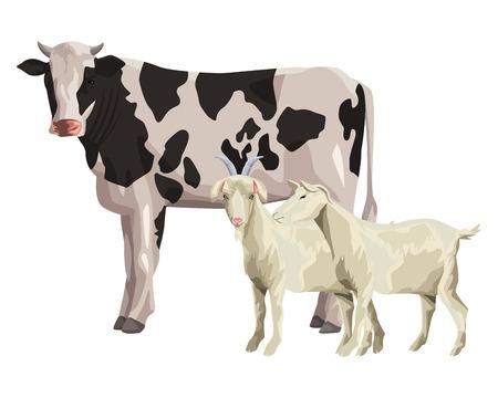 cow and goat icon cartoon vector illustration graphic design Vettoriali