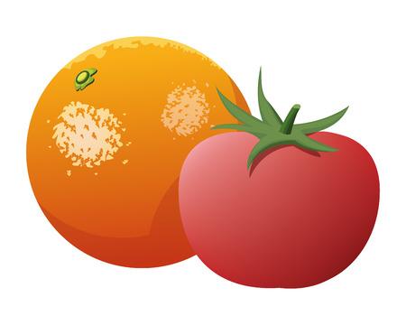 orange and tomato icon cartoon isolated vector illustration graphic design