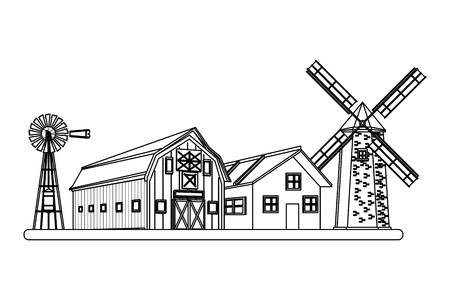 farm barn and windmill wind turbine icon cartoon black and white vector illustration graphic design Ilustracja