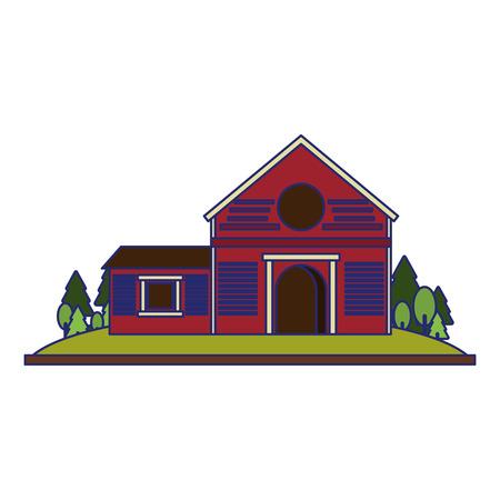 Farm house in nature scenery isolated vector illustration graphic design Vektorgrafik