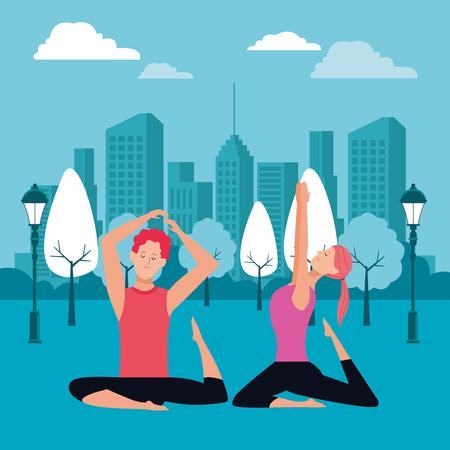 couple yoga poses avatars cartoon character with ponytail in the park cityscape skyscraper at night vector illustration graphic design