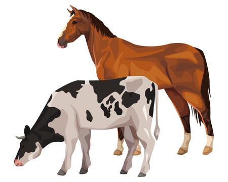 disegno grafico dell'illustrazione di vettore del fumetto dell'icona della mucca e del cavallo