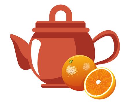 orange icon cartoon isolated with tea pot vector illustration graphic design