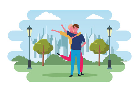 Young boyfriend and girlfriend smiling at city park scenery vector illustration graphic design