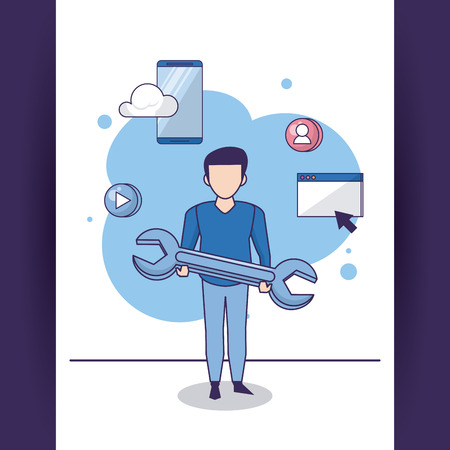 Community manager and smartphone technology tools vector illustration graphic design