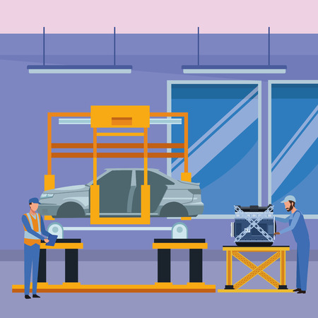 car service manufacturing workers assembling cartoon vector illustration graphic design Vector Illustration