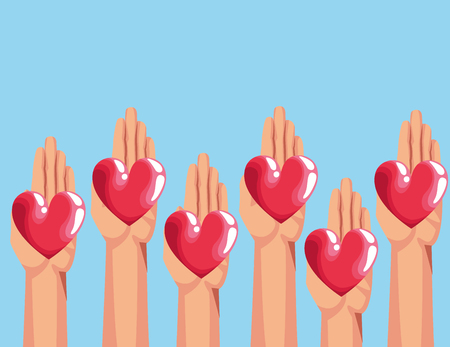 Blood donation charity campaign hands with heart cartoons vector illustration graphic design