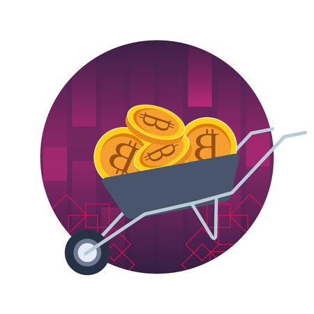 wheelbarrow full of cryptocurrency bitcoin round icon vector illustration graphic design