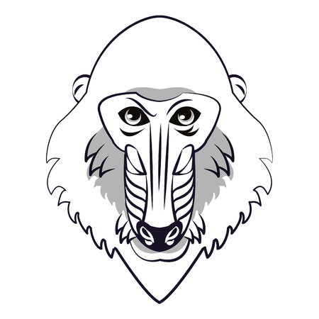 Mandrill face cool sketch in black and white vector illustration graphic design Illustration