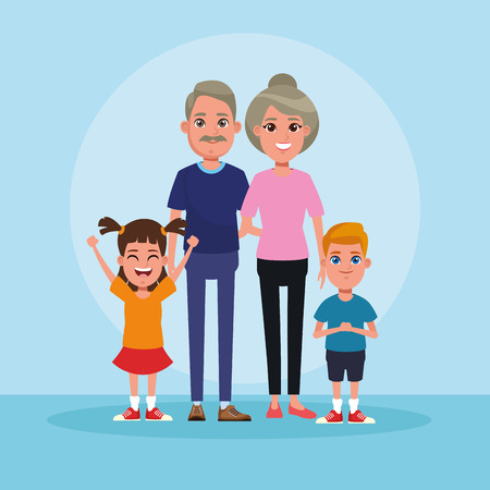 Family grandparents with kids cartoon vector illustration graphic design