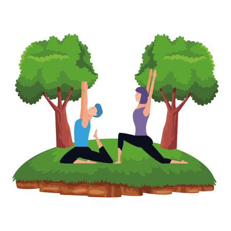 couple yoga poses avatars cartoon character with short hair in the park vector illustration graphic design