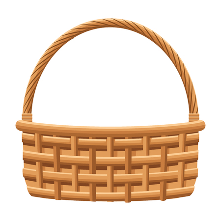 wicker basket icon cartoon isolated vector illustration graphic design