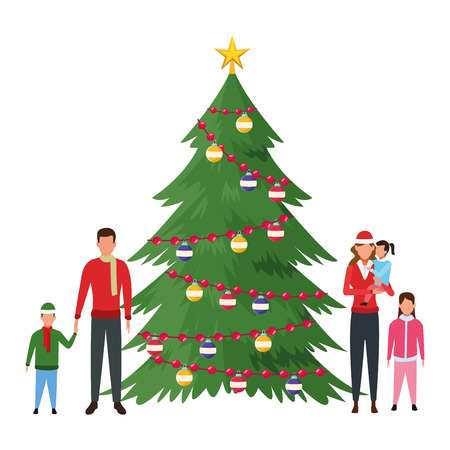 family with christmas tree decorated vector illustration graphic design