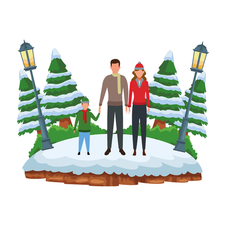 family avatar cartoon character wearing winter clothes with scarf and knitted cap at snowing park vector illustration graphic design