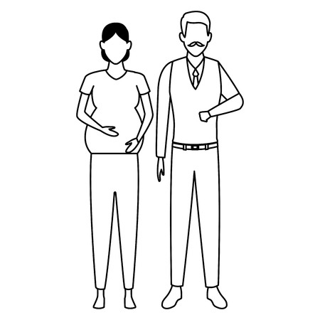 pregnant woman and old man avatar cartoon character black and white vector illustration graphic design