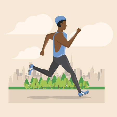 Fitness man running in the city park scenery vector illustration graphic design