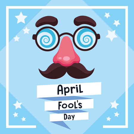 April fools day card with joke cartoo and stars vector illustration graphic design Stockfoto - 123112395