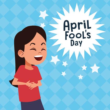Pesce d'aprile ragazza carina che ride fumetto illustrazione vettoriale graphic design