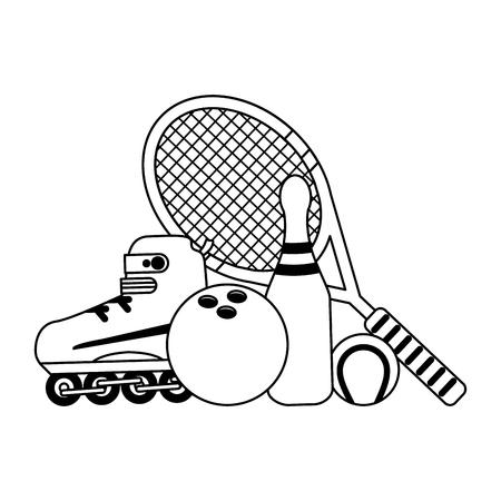 Sport game equipment cartoons vector illustration graphic design
