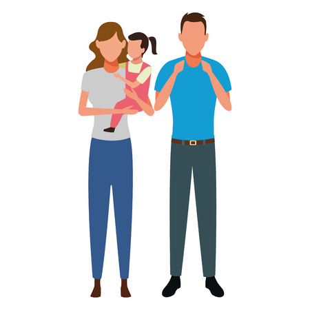 family avatar cartoon character couple with child vector illustration graphic design Illustration
