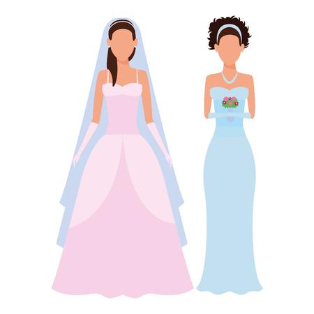 women wearing wedding dress avatars cartoon characters vector illustration graphic design Ilustração
