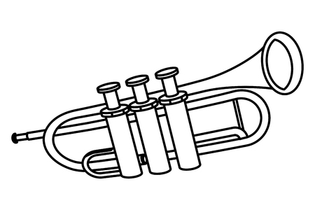 trumpet icon cartoon isolated black and white vector illustration graphic design Ilustração