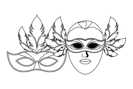 masks and feathers icon black and white vector illustration graphic design
