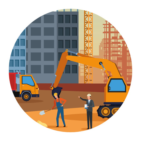 Construction engineer and worker in contruction zone with vehicles vector illustration graphic design Illustration