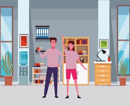 Couple boyfriend and girlfriend smiling cartoon inside office with elements vector illustration graphic design Stock Illustratie