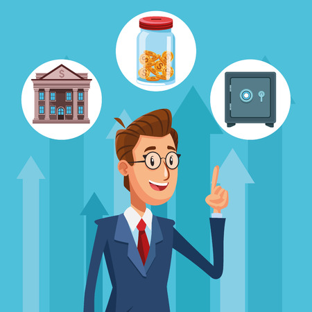 Businessman banker with money round icons cartoon vector illustration graphic design