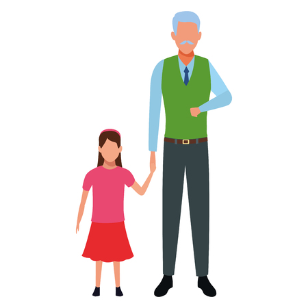 old man with kid avatar cartoon character vector illustration graphic design