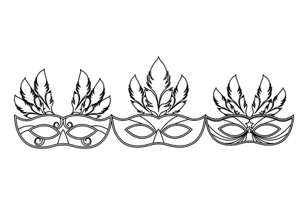 set of masks and feathers icon black and white vector illustration graphic design