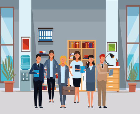 business people avatar cartoon characters with briefcase and documents folder in the office vector illustration graphic design