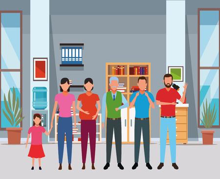 family avatar cartoon character grandparent pregnant child indoor house vector illustration graphic design Stock Illustratie